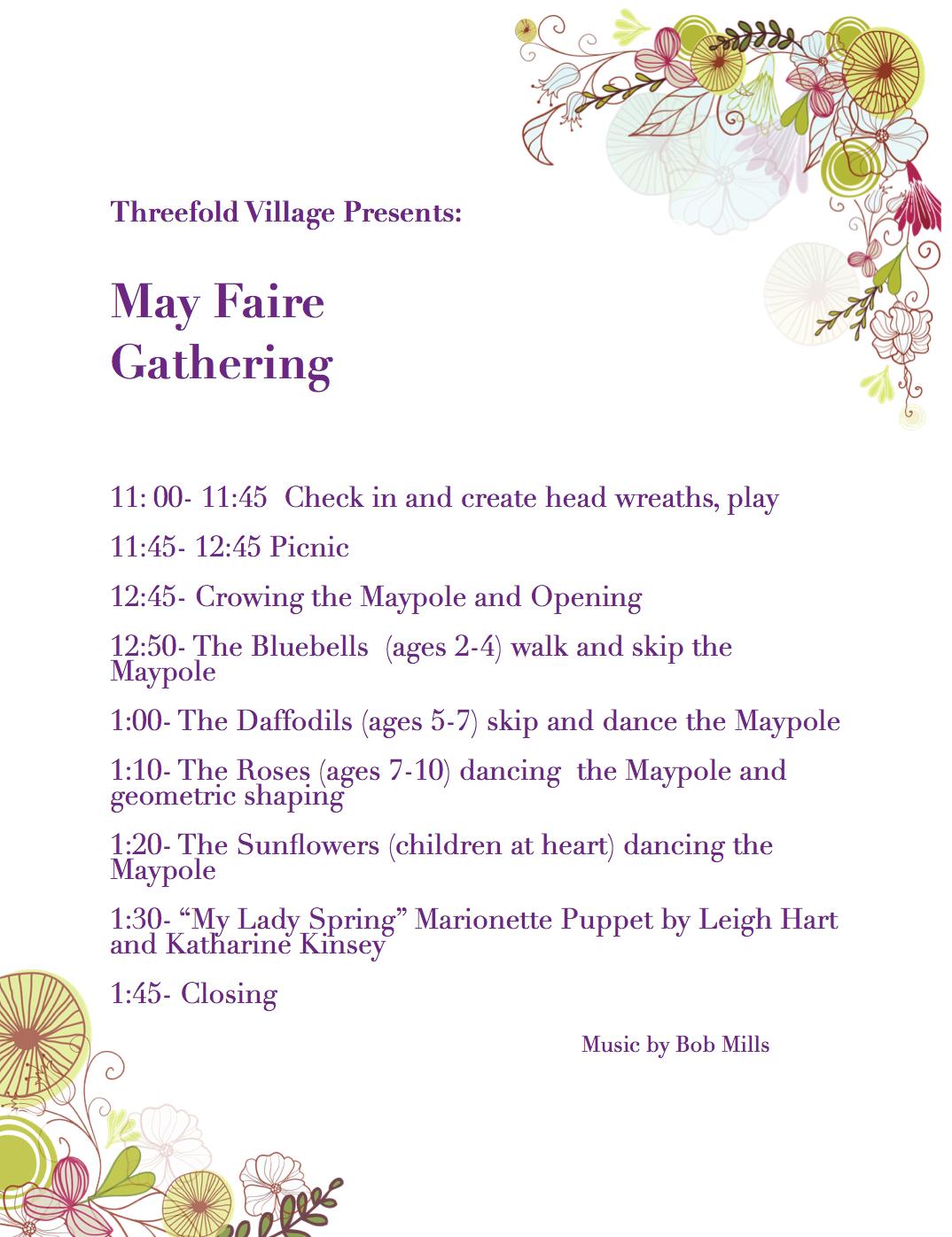 Agenda for Threefold Village May Faire