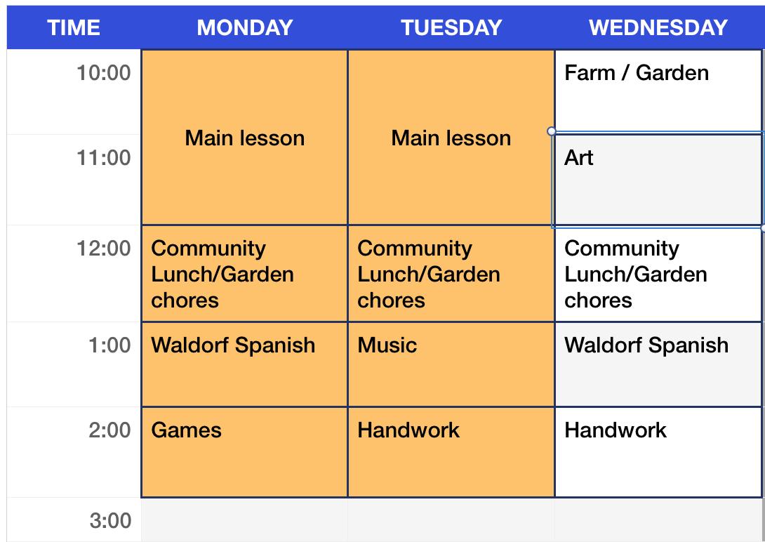 First Grade Weekly Schedule