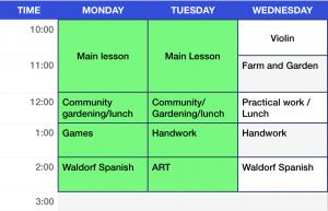 Third Grade Weekly Schedule