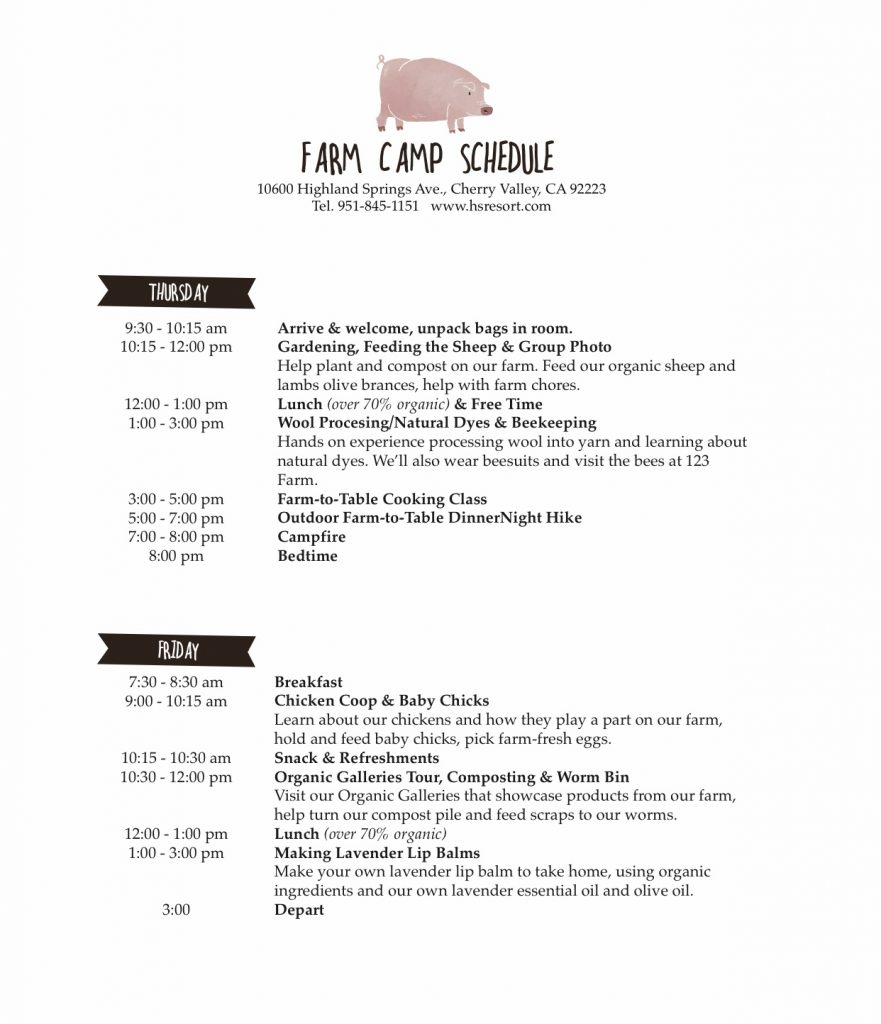 Itinerary for TFV Farm Camp 2019.